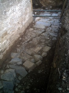 12th Century wall footing uncovered at the castle in 2012 (c) Glen K Johnson
