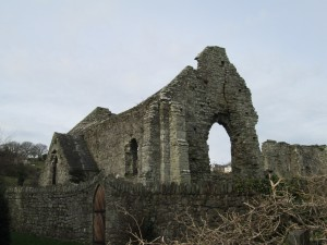 The remains of the rubble stone infirmary chapel of the early 14th Century