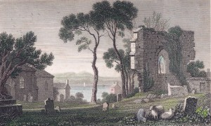 Pretty colour engraving showing the North Transept of the Abbey abd a portion of the parish church.
