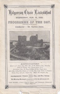 Cover of Eisteddofd Programme, 15/08/1900 (Glen Johnson Collection)