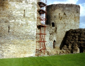 Cilgerran Castle during repairs in 1980 (c) Glen K Johnson