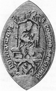 B&W illustration of the oval Medieval seal of the Abbey of St. Dogmaels, showing the Virgin and Holy Child