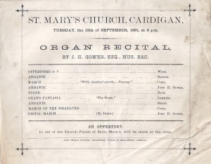 Poster for Organ Recital at St. Mary's Church, 13/09/1881 (Glen Johnson Collection)