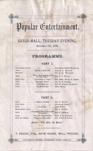 Flyer advertising entertainments at the Guildhall, 07/11/1876 (Glen Johnson Collection)