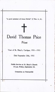 Cover of Rev. D. T. Price's Memorial Service Programme, September 1955 (Glen Johnson Collection)