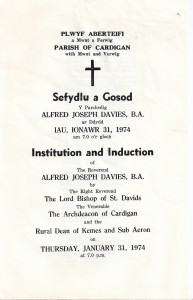 Cover of Induction Service Programme for Rev. Alfred Joseph Davies (Glen Johnson Collection)