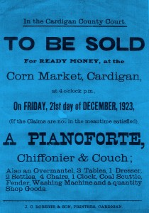 Poster for the sale of a pianoforte, Corn Market, 1923 (Glen Johnson Collection)