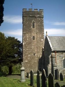 Medieval St. Llawddog's Church tower in May 2011 (c) Glen K Johnson