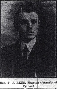 Rev. T J Rees, former minister of Tyrhos Chapel, 1911 (Cardigan & Tivy-Side Advertiser)