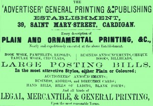Poster advertising the 'Advertiser', 15/01/1869 (Glen Johnson Collection)