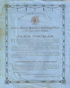 Poster for Jane Thomas, Printer, ca. 1873 (Glen Johnson Collection)