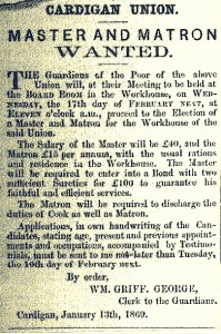 Advertisement seeking new Workhouse Master & Matron, 13/01/1869 (Cardigan Observer)
