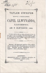 Cover of the Annual Report for Llwynadda for 1900 (Glen Johnson Collection)