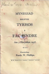 Cover of 1938 Annual Report for Tyrhos & Fachendre 30/03/1939 (Glen Johnson Collection)