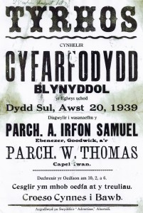 Annual Meeting Poster, Tyrhos Chapel 20/08/1939 (Glen Johnson Collection)