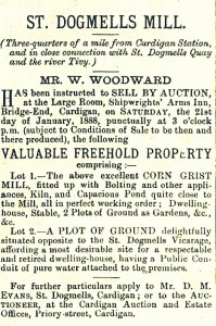 Sale advertisement for the Mill, January 1888 (Cardigan & Tivy-Side Advertiser)