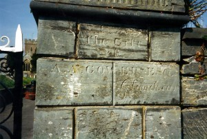 Inscription at St. Llawddog's gate, April 2000 (c) Glen K Johnson