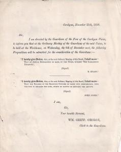 Meeting reminder, Cardigan Union, 25/11/1858 (Glen Johnson Collection)