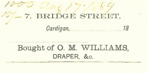 Bill-head for O M Williams, 7 Bridge Street, 17/08/1889 (Glen Johnson Collection)