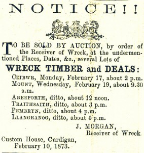 Notice from Custom House published 10/02/1873 (Glen Johnson Collection)