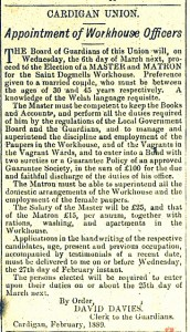 Seeking a new Master & Matron, February 1889, Cardigan Observer