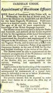 Seeking a new Master & Matron, February 1889, Cardigan Observer
