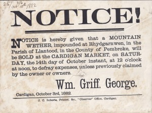 Poster regarding a mountain wether, October 1882 (Glen Johnson Collection)