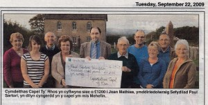 Presentation of cheque, Tyrhos Chapel, 22/09/2009 (Cardigan & Tivy-Side Advertiser)