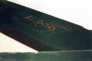 '1829' date on roof truss, April 2001 (c) Glen K Johnson