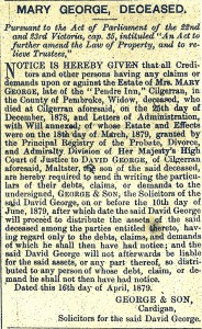 Notice of Death of Mary George, Pendre Inn, April 1879 (Cardigan Observer)