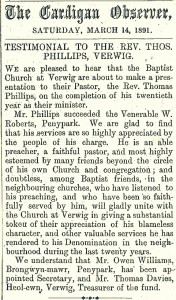 Testimonial to Rev. Thomas Phillips, 14/03/1891 (Cardigan & Tivy-Side Advertiser)
