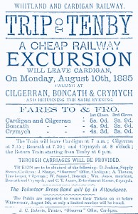 Pre-opening Excursion to Tenby - Poster, 10/08/1885 (Glen Johnson Collection)
