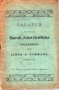 Cover of Rev. John Griffiths' Eulogy, June 1899 (Glen Johnson Collection)