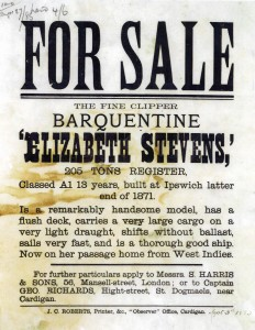 Poster for sale of 'Elizabeth Stephens', Fountain House, 27/08/1883 (Glen Johnson Collection)