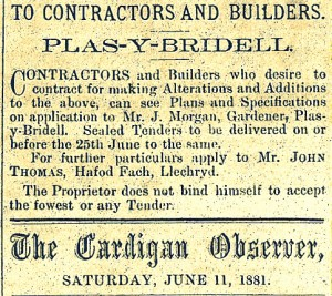 Advertisement for builders to replace Plasybridell, 11/06/188 (Cardigan Observer)