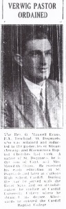Ordination of Rev. G. Maxwell Evans, Siloam, 16/10/1953 (Cardigan & Tivy-Side Advertiser)