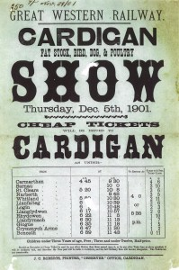 Poster for Rail Services to Cardigan Show, 05/12/1901 (Glen Johnson Collection)