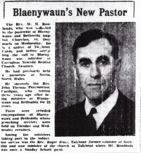 Rev. W H Rowlands becomes Minister of Blaenwaun 19/02/1960 (Cardigan & Tivy-Side Advertiser)