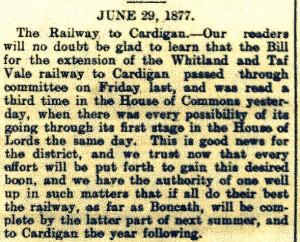 Railway to Cardigan, 29/06/1877 (Cardigan & Tivy-Side Advertiser)