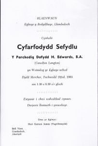 Cover of Installation Service Booklet, Rev. Dafydd H Edwards, Blaenwaun, 16/11/1983 (Glen Johnson Collection)