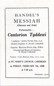 Cover of Concert Programme, St. Mary's Church 07/02/1986