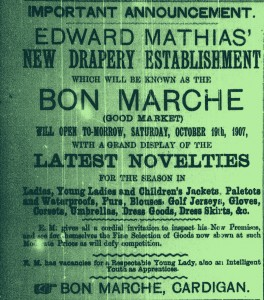 Advertisement for the new Bon Marche, No. 12/13 High Street (Glen Johnson Collection)