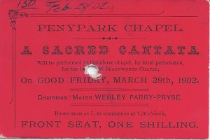 Ticket for a Sacred Cantata, Penparc Chapel, 28/03/1902 (Glen Johnson Collection)