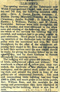 Opening of Tabernacle (Cardigan Observer, 12/02/1881)