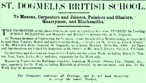 Poster seeking builders for St. Dogmaels' School, 22/05/1868 (Glen Johnson Collection)