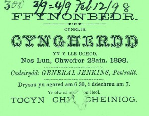 Concert ticket, Ffynnonbedr Chapel, 28/02/1898 (Glen Johnson Collection)