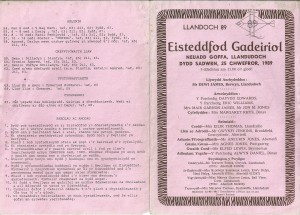 Cover of the 1989 Programme, St. Dogmaels Eisteddfod.