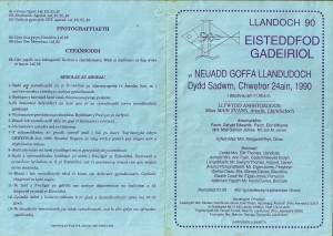 Cover of 1990 Eisteddfod Programme