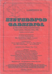 Cover of 1992 Eisteddfod Programme