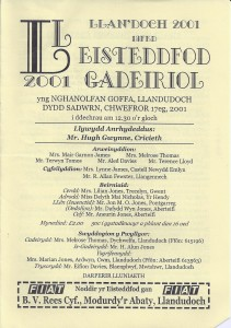 Cover of the Eisteddfod Programme, 2001